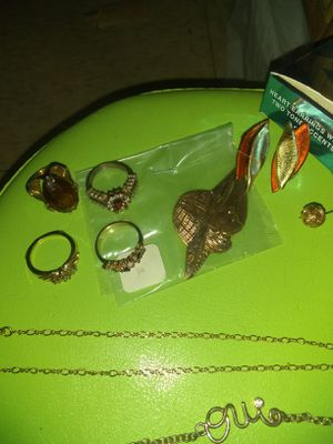 Misc gold costume jewelry , earrings , bracelets, necklaces , rings for Sale in Ashville, OH