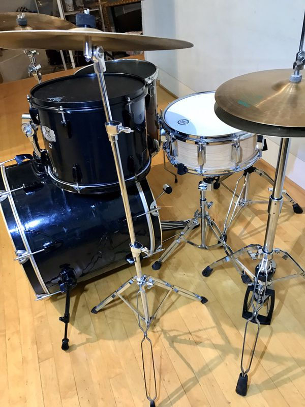 Pearl EX export series black mixed jazz bebop 4 piece Zildjian Paiste cymbals complete drums kit PDP bass pedal throne as pictured $325 in Ontario 91