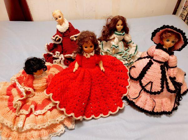 Vintage antique dolls in handmade crochet dresses