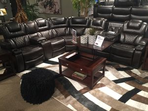 Powered Faux Leather Sectional Sofa with Adj. Headrest, Brown for Sale in Santa Fe Springs, CA