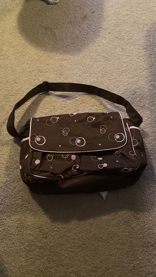 Brown and pink diaper bag