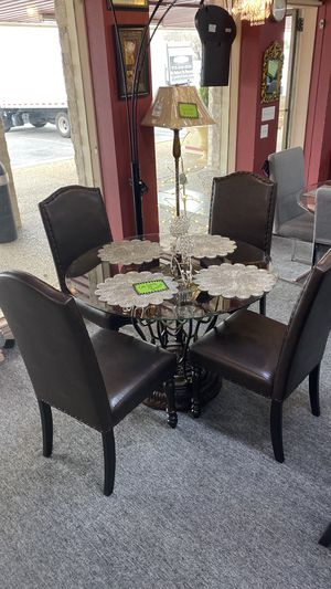 Rustic Finish Dining Table Glass Top with 4 Leather Chairs SXXI for Sale in Euless, TX