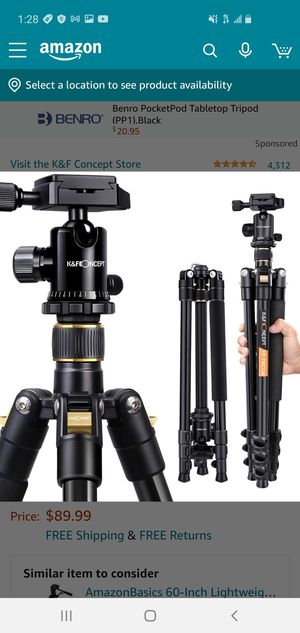 """PICK UP ONLY K&F Concept 62"""" DSLR Tripod Lightning and compact aluminum camera Tripod with 360 panorama Ball Head for Sale in South Gate, CA"""