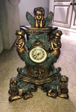 Antique Bronze and Green with Bronze inlays Chinese Clock with Puttis, Cherubs or Angels, Dragons, Snake surroundings Clock for Sale in Plainfield, IL