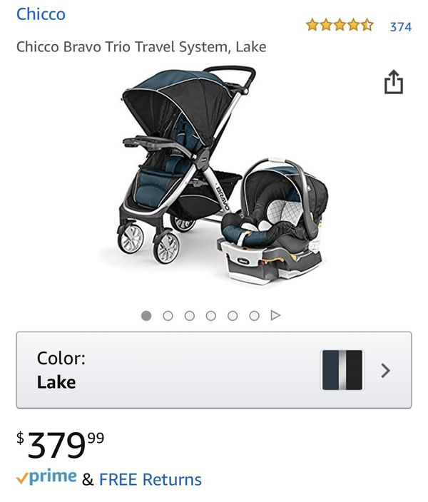 Chicco Bravo Trio Travel System, Lake- stroller, car seat and base