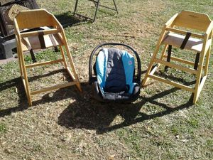 Two wooden high chairs one car seat for Sale in Birmingham, AL