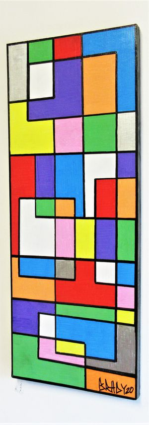 "24""x9.5"" ORIGINAL SIGNED DE STIJL PAINTING. PAINT ON BOARD. BRACKETS APPLIED ALLOWING PAINTING TO HANG EITHER WAY! for Sale in Cincinnati, OH"