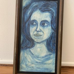 Blue Woman Charcoal And Acrylic Painting Haunted for Sale in Los Angeles, CA