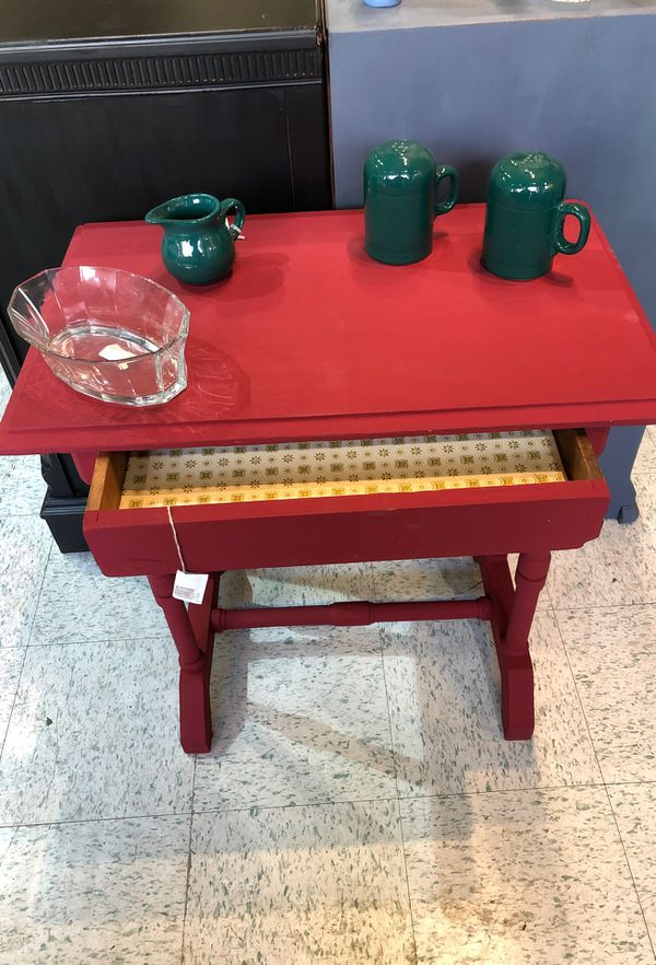 Small writing desk freshly painted cranberry sauce