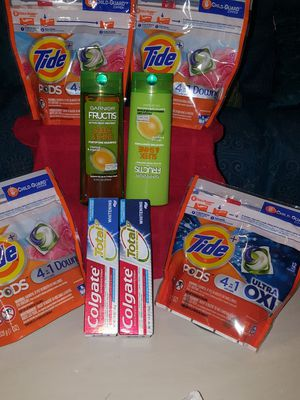 Tide pods and GARNIER FRUCTIS AND SHAMPOO AND CONDITIONER AND COLGATE TOTAL WHITENING ALL for Sale in Ontario, CA
