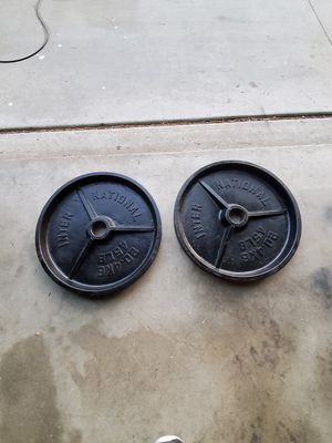 Pair of 45 lb olympic weight for Sale in Hemet, CA