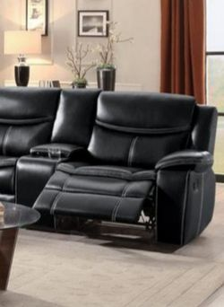 Black leather gel match reclining sectional sofa for Sale in Houston,  TX