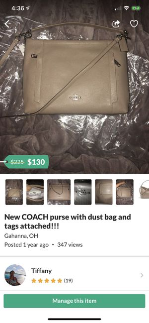 New COACH purse with dust bag and tags attached!!! for Sale in Columbus, OH