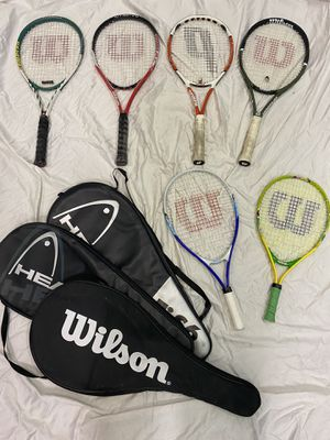 4 Tennis Racquets 2 Racket ball and basket with new tennis balls for Sale in Mission Viejo, CA