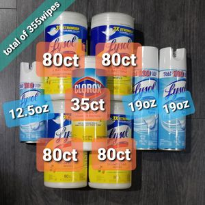 Lysol 4x 80ea tub, 1x CIorox 35ea Total 355ct, 2x 19 0z, 1x 12.5 0z for Sale in Brooklyn, NY