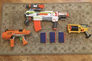 Nerf gun lot with Modulus ecs-10, Maverick, and more for Sale in Los Angeles, CA