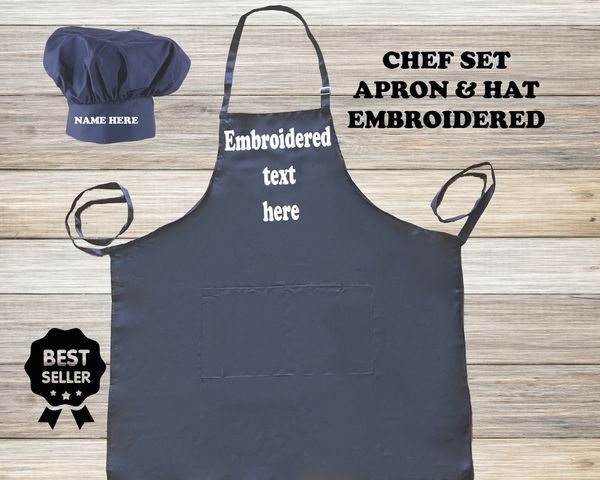 Personalized chef apron, embroidered name, text