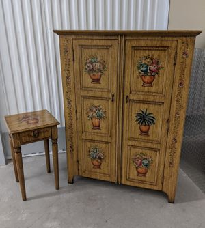 Painted Linen Cabinet Cupboard Chest / Storage Cabinet & Side table for Sale in Seattle, WA