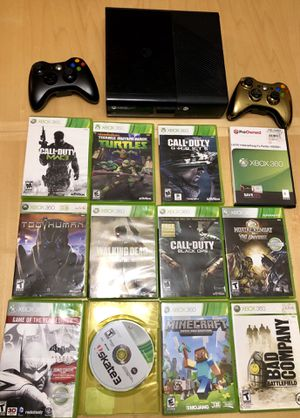 Used, Xbox 360, 2 controls and games for Sale for sale  Brandon, FL