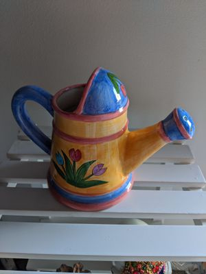 Hand Painted Ceramic Flowering Pot for Sale in Rancho Cucamonga, CA