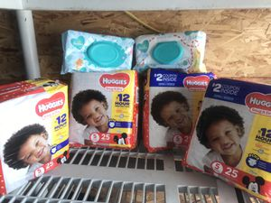 Huggies Size 5 and 2 pampers wipes for Sale in Los Angeles, CA