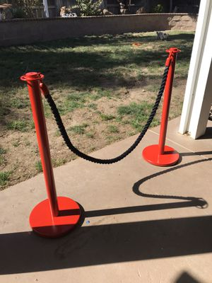 Red Stanchion posts with 6 foot rope for Sale in Modesto, CA