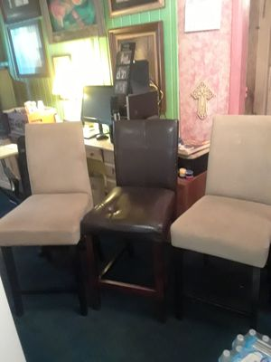 "High back bar stools a set of three two cloth and one vinyl 24"" floor to seat used but in good condition for Sale in Tampa, FL"