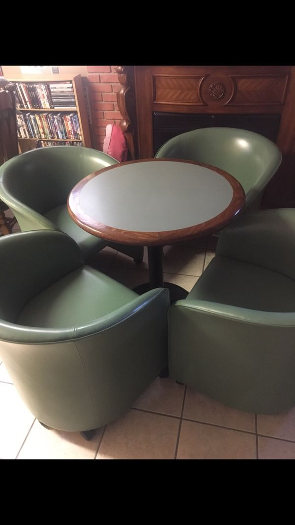 Four Retro, Top Grain Leather Lounge Chairs with Table made by Loewenstein
