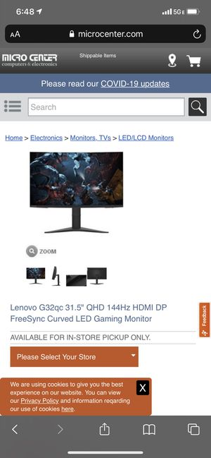 "Lenovo 1440p 31.5"" 144hz Curved Gaming Monitor. Perfect condition for Sale in Lake Forest, CA"