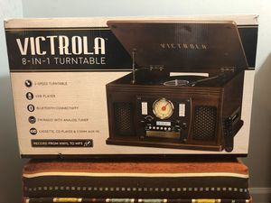 Victrola Wood 8-in-1 Bluetooth Record Player with USB Encoding and 3-speed Turntable for Sale in Charlotte, NC
