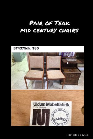 Teak mid century chairs Pr for Sale in Frederick, MD