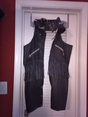 Leather chaps with fringe for Sale in Coral Springs, FL