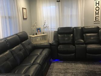 🤙In STOCK 👉Ashley Brand [SPECIAL] Kempten Black LED Reclining Living Room Set 🤙Sofa And Loveseat 🤙 for Sale in Greenbelt,  MD