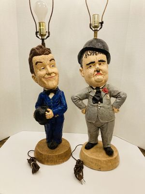"""Vintage RARE 32"""" Comedians Laurel And Hardy Chalkware Statue Table Lamps Collectibles for Sale in Spring Hill, FL"""
