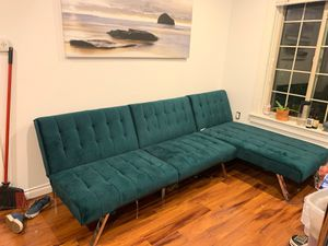 Sectional couch / futon velvet WITH WARRANTY for Sale in Portland, OR