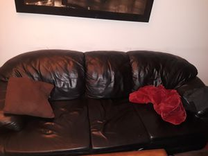 3 black leather couch set ! for Sale in Los Angeles, CA