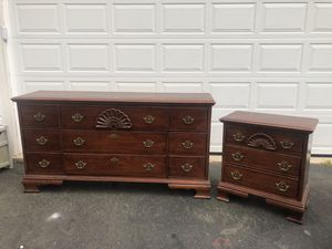Solid Wood 9 Drawer Long Dresser With 3 Drawer Nightstand Made in the USA for Sale in Woodbridge, VA