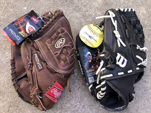 Softball gloves lefty new with tags equipment bats gear Rawlings Wilson Easton for Sale in Culver City, CA