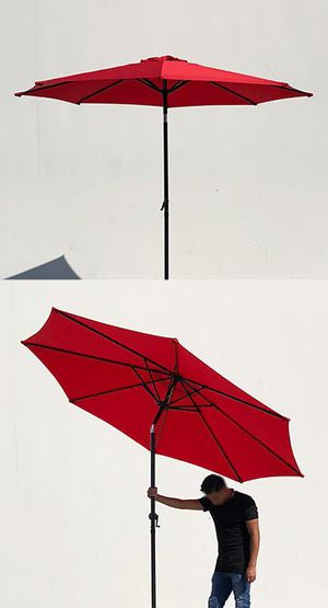 New $35 each Outdoor 9ft Patio Umbrella Aluminum Sun Shade w/ Tilt Crank (Tan, Green or Red) for Sale in Whittier, CA
