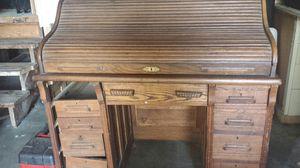 Antique oak roll top desk secretary size 44 for sale  tall x 47