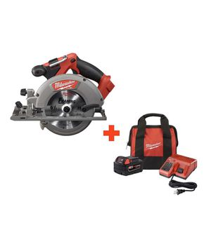 Milwaukee M18 FUEL 18-Volt Lithium-Ion Brushless Cordless 6-1/2 in. Circular Saw with One 5.0 Ah Battery, Charger and Bag for Sale in Kent, WA