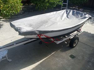 6ft.mini fishing boat..with trolling motor,battery,boat cover and trailer for Sale in San Leandro, CA