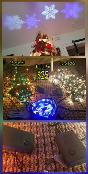 2 Christmas lights con control Y un projector todo por $25 tengo mas cosas Pick up only:) for Sale in San Jose, CA