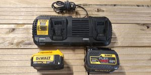 DeWalt dual fast charger DCB132 and 2 20 xr batteries for Sale in Salt Lake City, UT