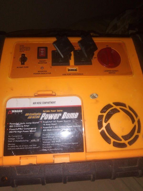 Power inverter/jump box /work light/compressor