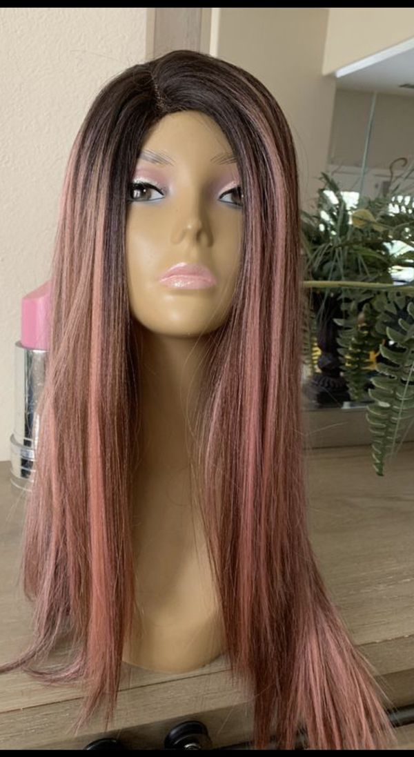 ROSE GOLD PINK LAYERED STRAIGHT PART WIG