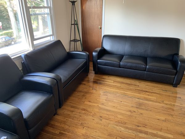 3 pieces furniture set! Faux leather couch, loveseat/pull out bed and recliner