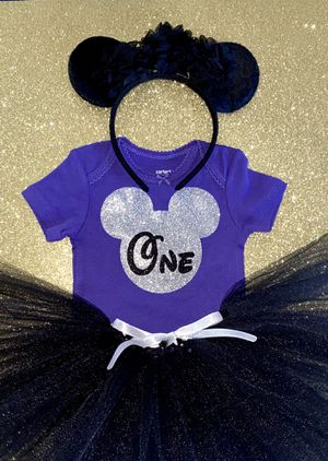 Dark Purple, Silver, & Black Glitter ONE 1st Birthday Outfit: Onesie, Tutu, & Matching Minnie Mouse Headband Ears 12 Months for Sale in Long Beach, CA
