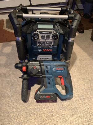 NEW - BOSCH 18v Rotary Hammer & BT Jobsite Radio/Charger HALF PRICE for Sale in Newtown, PA