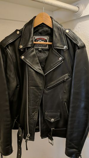 Black Leather Motorcycle Jacket (size 44) for Sale in Oakland, CA